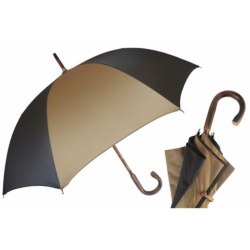 Luxury men's umbrella with Bicolor biege and brown canopy on one-piece chestnut shaft.