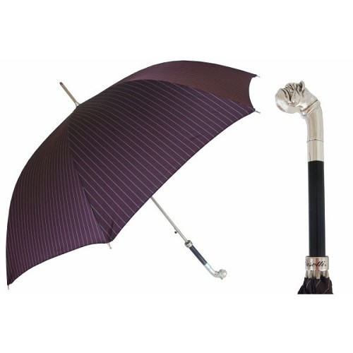 Elegant Burgundy pinstripe canopy on a silver-plated bulldog motif handle.