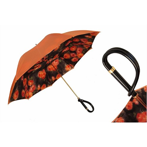 Beautiful Orange Rose motif umbrella with a loop handle.