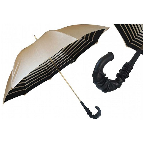Pasotti Ivory Women's Umbrella with striped interior and gathered black leather handle.