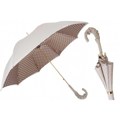 Pasotti Ivory Umbrella with dots print interior and leather handle. Double Cloth.