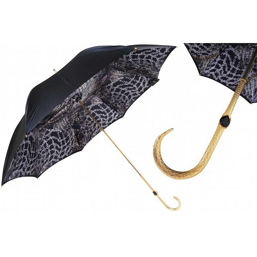 Pasotti Black with Precious Interior Women's Umbrella with golden brass handle.