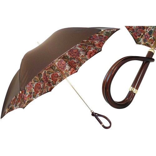 Pasotti Brown with Flowered Paisley Interior Women's Umbrella with brown acetate handle.