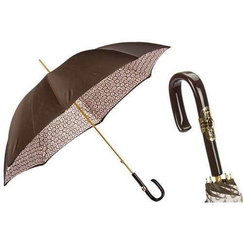Pasotti Brown Geometric Little Circles Women's Umbrella with white tipped black handle.