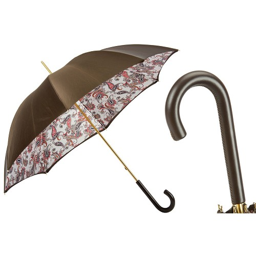 Pasotti Womens Classic Umbrella with brown exterior and paisley interior design on white.