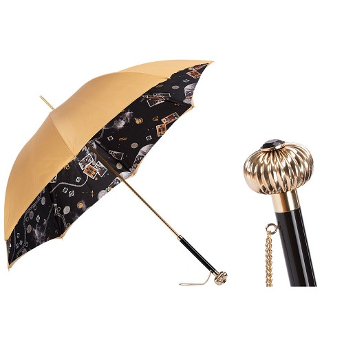 Pasotti Women's Classic Mystery Umbrella with gold xterior and occult symbols on black interior.