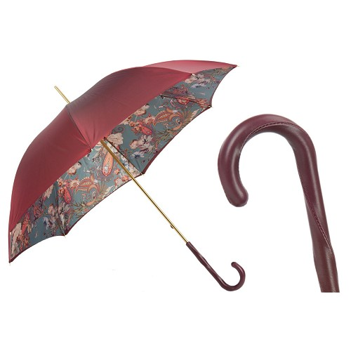 Pasotti Burgundy Umbrella with Classic Design. Double Cloth.