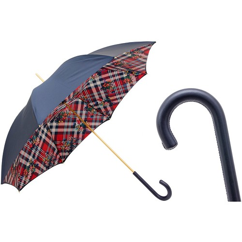 Pasotti Womens Classic Umbrella with navy exterior, stripes and stars interior,  and leather handle.