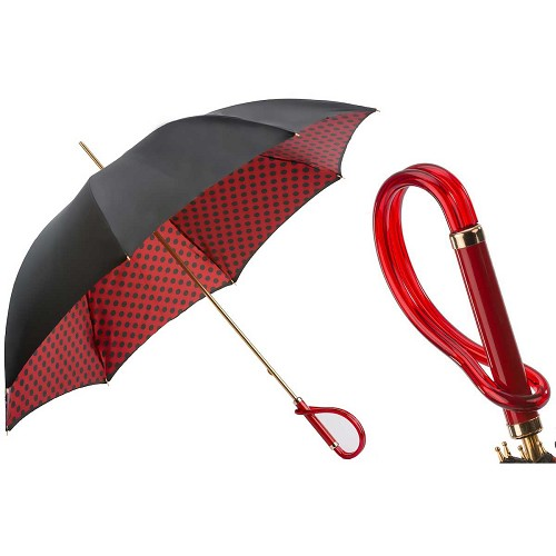 Pasotti Black with Red Dots Women's Umbrella with red acetate handle.
