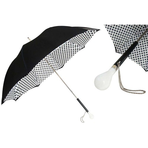 Pasotti Bright and White Polka Dots Women's Umbrella with polka dots interior and black handle with white acetate handle.