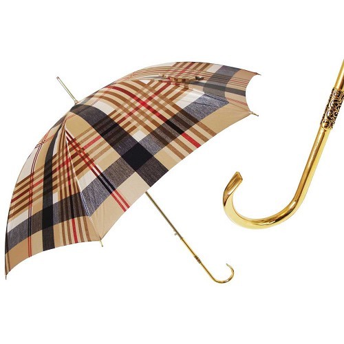Pasotti Classic Tartan Women's Umbrella with golden brass handle.