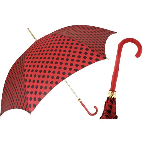 Pasotti  Nice Red with Black Polka Dots Women's Umbrella with red leather handle.