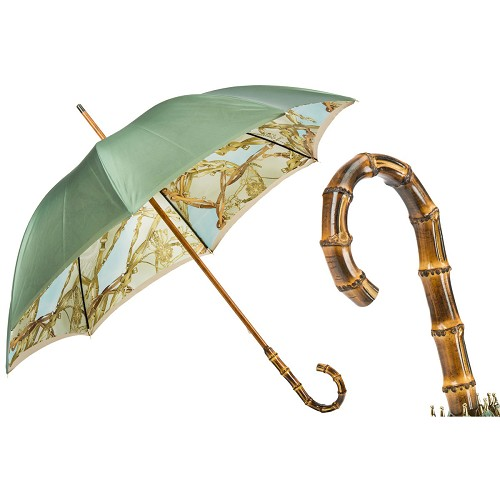 Pasotti Bamboo Handle Umbrella with Bridles Print. Double Cloth.