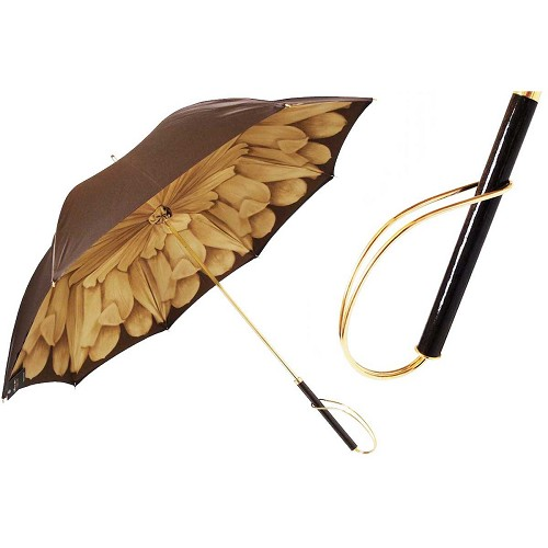 Pasotti Brown Dahlia Women's Umbrella with wood and brass handle.