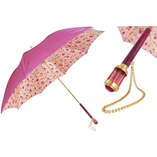 Pasotti Romantic Pink Flowers Women's Umbrella with floral print interior.
