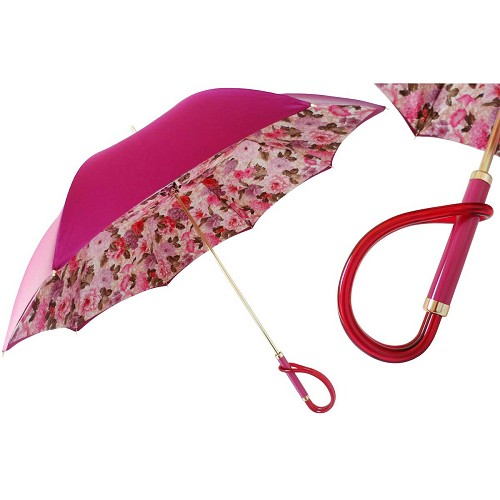 Pasotti Fuchsia Flowers Women's Umbrella with floral print interior and matching fuchsia loop handle.