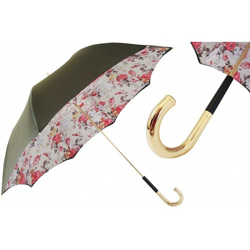 Pasotti Green Women's Umbrella with Jungle floral print interior and brass handle.