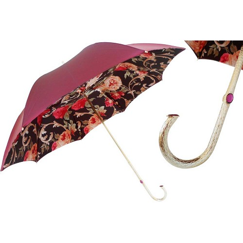 Pasotti Burgundy Vintage Flowers Women's Umbrella with silver jeweled brass handle.