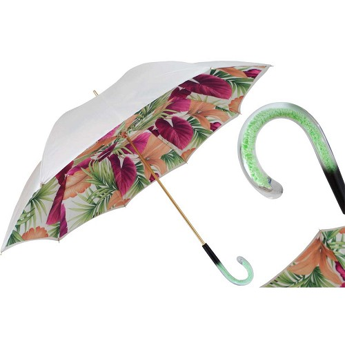 Pasotti White Summer Style Flowers Women's Umbrella with matching handle.