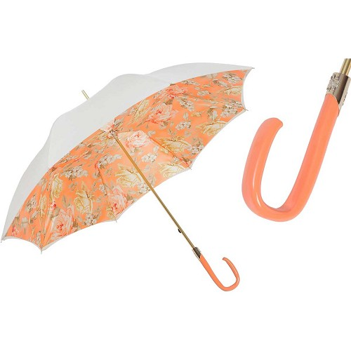 Pasotti White Quality Women's Umbrella with pink floral print interior and pink handle.