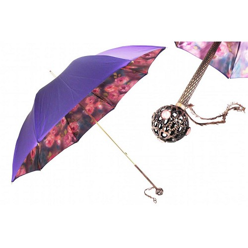 Pasotti Purple Women's Umbrella with roses floral print interior and jeweled brass handle.