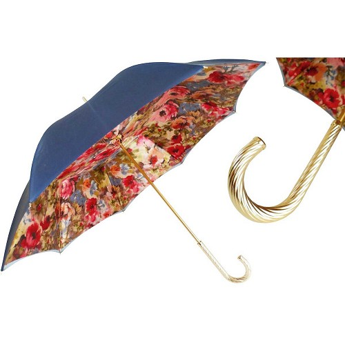 Pasotti Blue Women's Umbrella with floral print interior and jeweled brass handle.