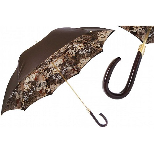 Pasotti Brown Women's Umbrella with floral print interior, gold and brown handle.