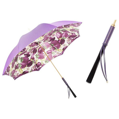 Pasotti Auberine Eggplant Women's Umbrella with wood and leather handle.