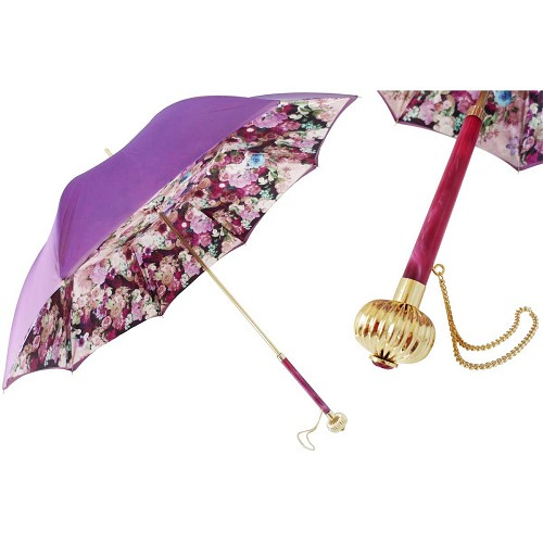 Pasotti Purple Women's Umbrella with purpl flowers interior and jeweled handle.