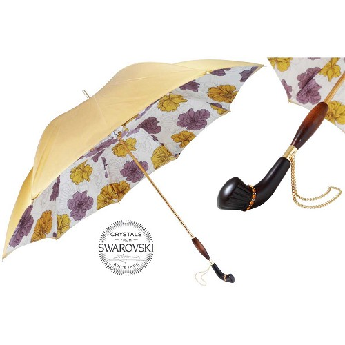 Pasotti Gold Vintage Umbrella with Flowers and wooden Pasotti handmade women's gold vintage umbrella with flowers interior. Wooden handle with Swarovski® crystals.