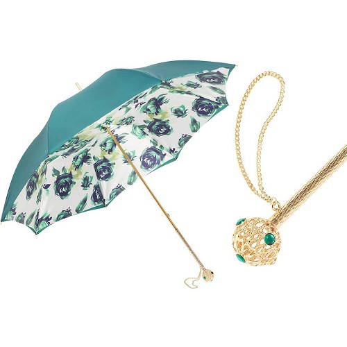 Pasotti Green Women's Umbrella with dark green floral print interior and jeweled brass handle.