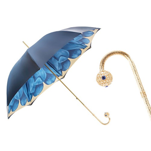 Pasotti Women's Luxury Blue Dahlia Flowered Umbrella with blue jeweled golden brass handle.
