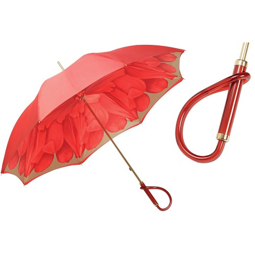 Pasotti Women's High End Red Dahlia Flowered Umbrella with blue jeweled golden brass handle.