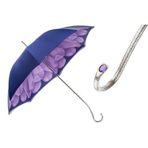 Pasotti Women's Purple Dahlia Flowered Umbrella with purple jeweled silver brass handle.