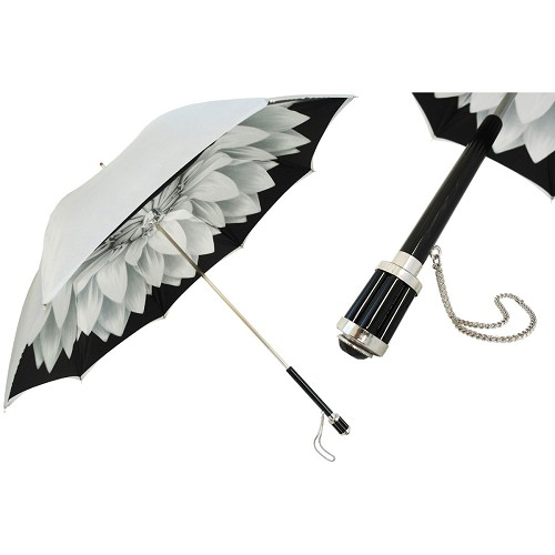 Pasotti Silver Dahlia Women's Umbrella with black handle.