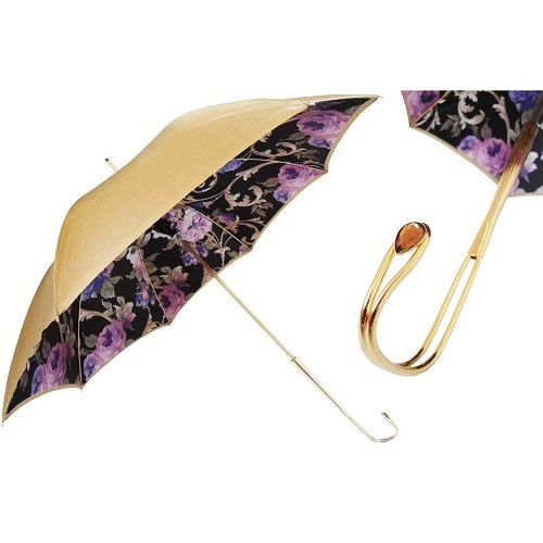 Pasotti Gold Vintage Luxury Women's Umbrella with floral interior and handle with Crystals from Swarovski®.