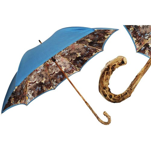Pasotti Blue Women's Umbrella with Nature Flowered interior and broom wood handle.