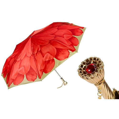 Pasotti Ombrelli Red Dahlia Women's Folding Umbrella with brass handle.