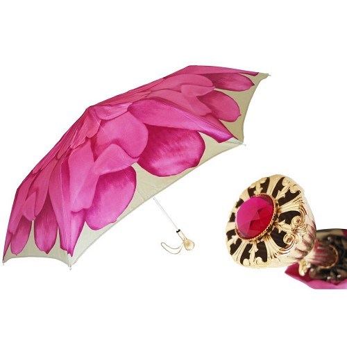 Pasotti Ombrelli Pink Dahlia Women's Folding Umbrella with jeweled brass handle.