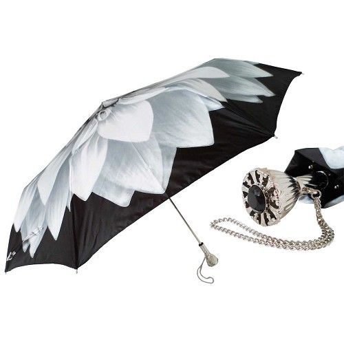Pasotti Ombrelli Silver Dahlia Women's Folding Umbrella with jeweled brass handle.