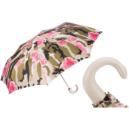 Pasotti Ombrelli Camouflage with Roses Women's Folding Umbrella with leather  handle.