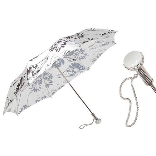 Pasotti Ombrelli Black and White Flowered Women's Folding Umbrella with jeweled brass handle.