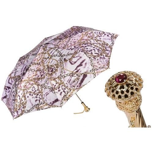 Pasotti Ombrelli Spotted Women's Mini-Umbrella with brass handle.