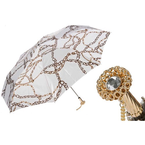 Pasotti Ombrelli Chains Print White Women's Folding Umbrella with brass handle.