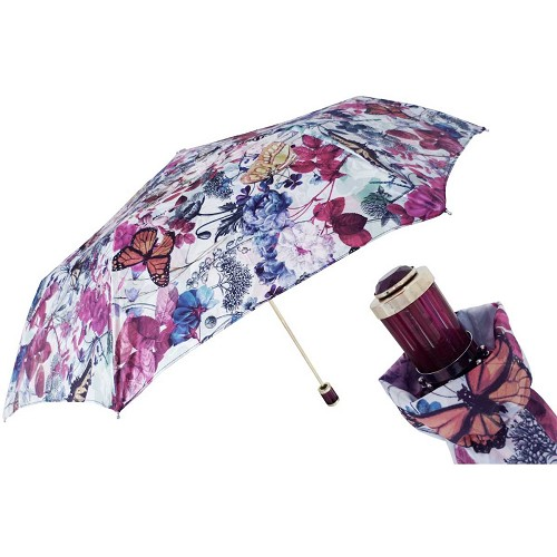 Pasotti Ombrelli Spring Women's Folding Umbrella with brown acetate handle.