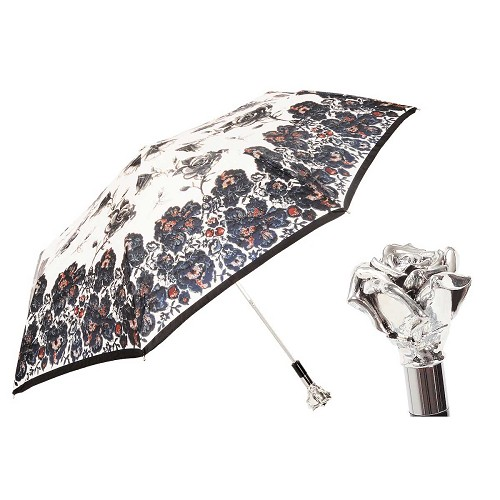Pasotti Ombrelli Silver Rose Women's Folding Umbrella with jeweled brass handle.