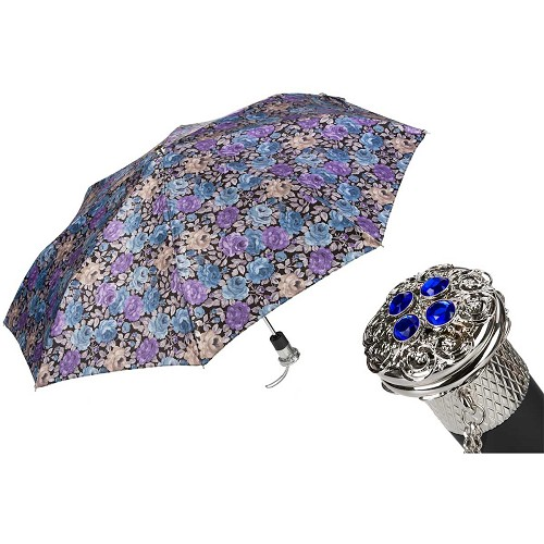 Pasotti Ombrelli Elegant Flowered Women's Folding Umbrella with jeweled brass handle.