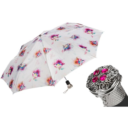 Pasotti Ombrelli Luxury Flowered Women's Folding Umbrella with jeweled brass handle.