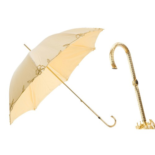 Pasotti luxury women's Ivory umbrella decorated with gold line flowers. Jeweled handle.