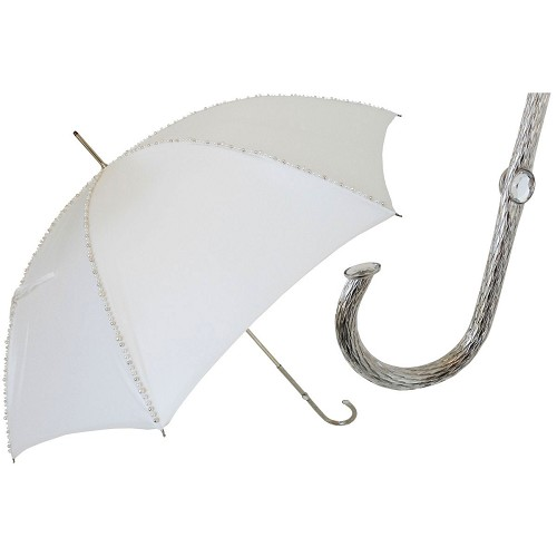 Pasotti luxury women's white bridal umbrella embellished with decorative pearls and jeweled brass handle.